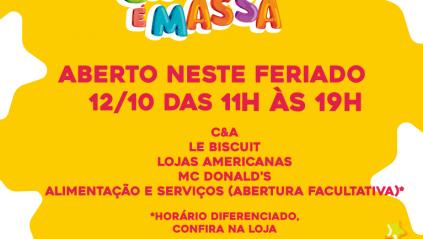 Shopping Piedade tem horário de funcionamento especial no feriado de 12 de outubro